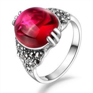 кольцо красный корунд