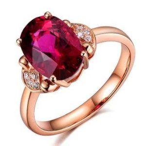 Красный-турмалин-кольцо