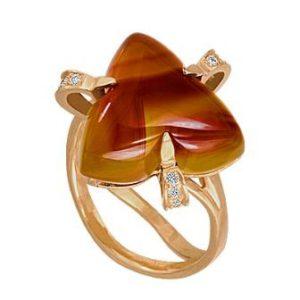 золотое кольцо сердолик