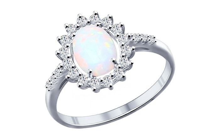 кольцо с белым опалом